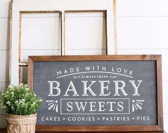 FREE SHIPPING Bakery Kitchen Farmhouse Style Rustic Wood Sign, Handmade,  Shabby Chic