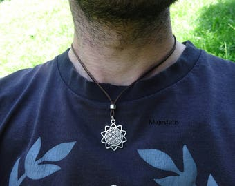 Genuine leather flower of life mandala necklace with silver plated bead and zamak mandala mens necklace womens leather choker
