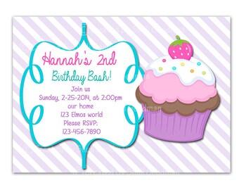 Cupcake invitations, cupcake birthday  Invitations - printable - DIY - digital file (Cc6)