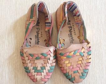 Vintage kids huaraches/children's woven leather sandals
