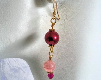 Pink Glass Bead Drop Earrings