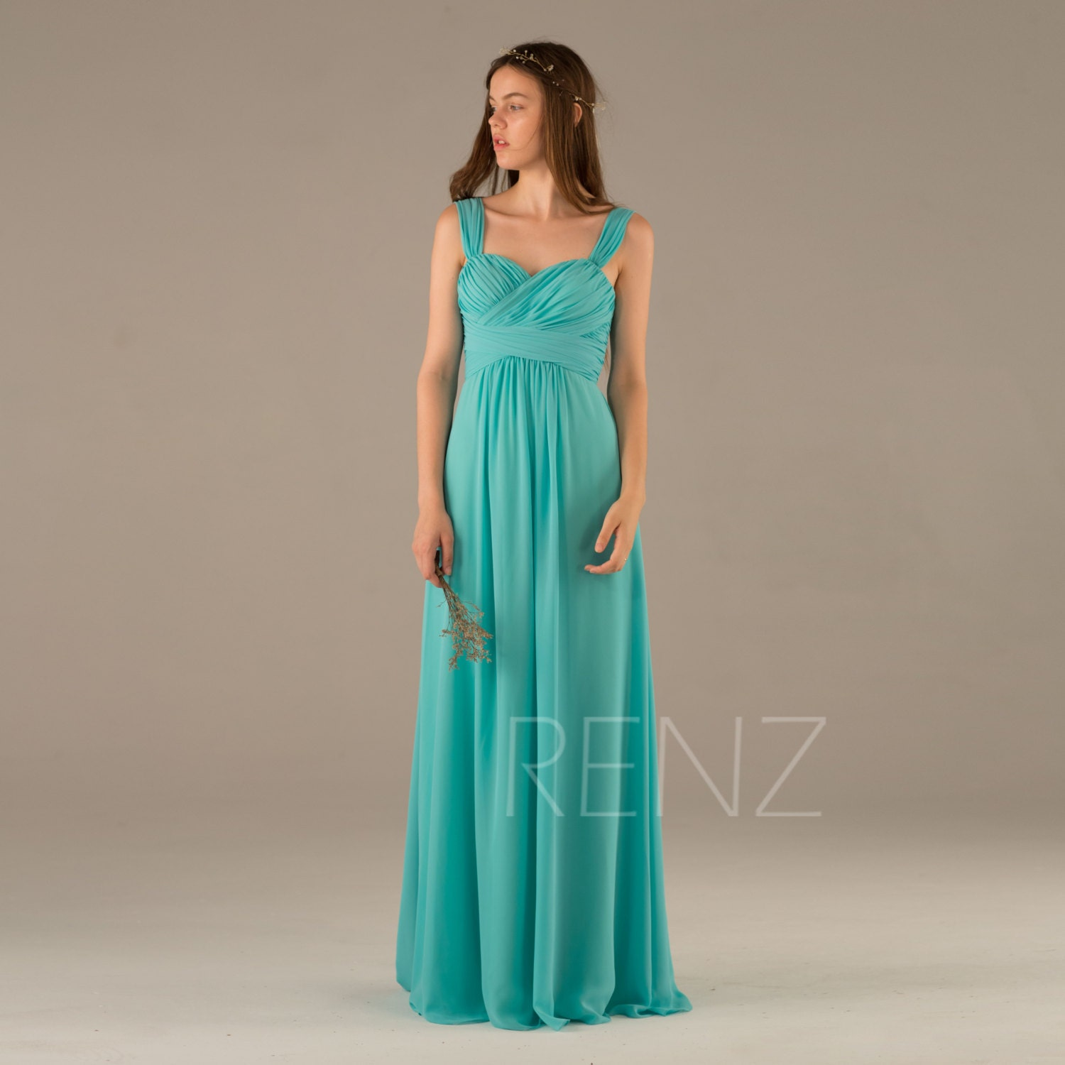 Bridesmaid Dress Turquoise Wedding DressLong Criss Cross