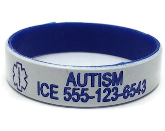 Autism Bracelet, Personalized toddler medical alert, Allergy Alert ID, Safety wristband in choice of color for toddlers with 2 lines of text