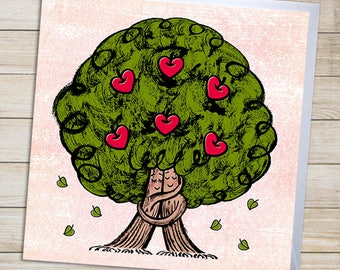 Romantic Love Card | Congratulations | Anniversary | Wedding | Valentines | Living Together | Birthday | Card With Tree Lovers Illustration