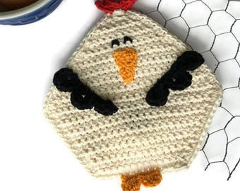 Crochet Chicken Potholder, Cotton Pot Holder, Chicken Wire Kitchen Decor, Country and Farm Kitchen, Housewarming, Shower Gift, Gift for Her