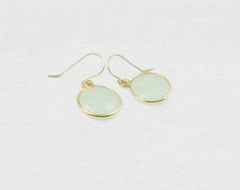 Birthstone Earrings, Minimalist Earrings, Gemstone Earrings, Dainty Earrings, Simple Earrings, Gold Filled, Sterling Silver, Mint, Coin,