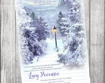 Narnia, Lion Witch and the Wardrobe, Winter, Baby Shower Invitation