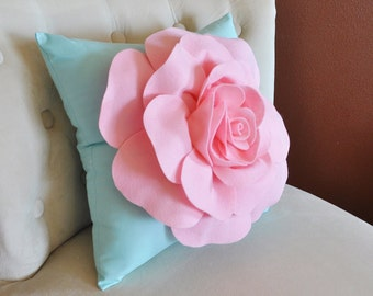 Baby Pink Rose on Aqua Pillow Baby Nursery Decor
