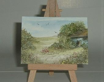 aceo art painting cottage,landscape (ref E200)