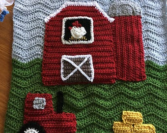 Crochet Baby Farm Blanket - Red Barn, Silo, Tractor and Hay