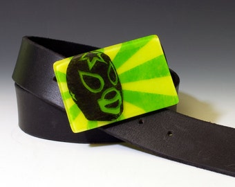 Fused Glass Luchador Buckle