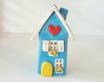 Little Light Blue Clay House, Whimsical Ceramic Fairy House, Gnome Home, Fairy Garden or Terrarium Decoration