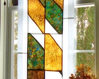 Abstract in Ochre ~ Fiber Art Stained Glass Look Batik Fabric Pojagi Window Treatment ~ bohemian boho cafe / bathroom / dorm curtains