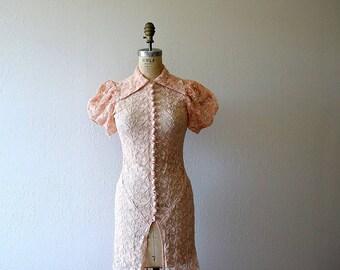 1930s tambour lace gown . vintage 30s dress