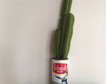 Green Felt Succulent Plant in Vintage Schmidt Beer Can // Gifts for Him // Fake Plants // Home Decor // Cactus