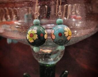 Small dangle cloisonne earrings