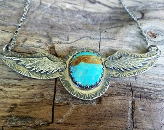 Boho Turquoise Necklace, Wing Necklace, Statement Necklace. Stamped and Sawed Feathers, Southwestern.  Gift for Cowgirl, Wife, Yourself