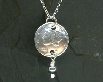 75th Birthday Gift For Women 1943 Dime Pendant Sterling Chain Necklace