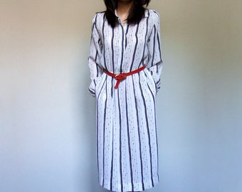 70s Black White Dress Simple Striped Day Dress Sheer Office Dress Long Sleeve - Medium Large M L