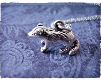 Silver Badger Necklace - Sterling Silver Badger Charm on a Delicate Sterling Silver Cable Chain or Charm Only