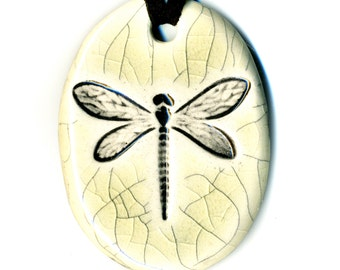Dragonfly or Damselfly Ceramic Necklace in Cream Crackle
