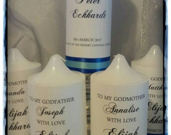 Personalised Christening/Baptism/Naming Day Candle  Main Candle and Godparent Set