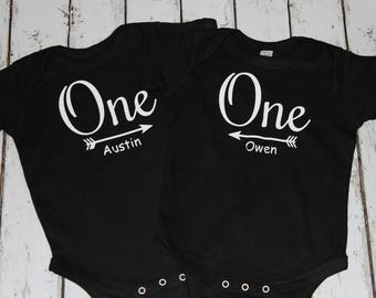 First Birthday Outfit, Twin Birthday Bodysuits, Twin Bodysuits, Twin Baby Clothing, Twin Baby Rompers, One Year Old, Twin Boys