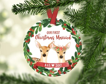 First Christmas Ornament Married Christmas Ornaments Christmas Ornament Wedding Gift for Couple Personalized Christmas Wedding Ornament Red