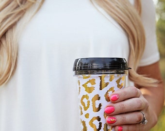 Leopard Travel Coffee Mug- White and Gold