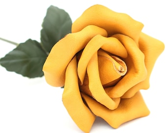 Long stem leather rose yellow flower third Anniversary wedding gift leather flower Valentine's Day 3rd Leather Anniversary Mother's Day