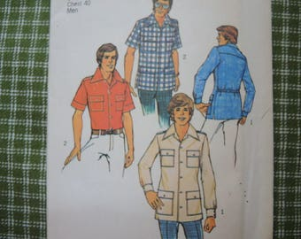 vintage 1970s Simplicity sewing pattern 6956 Mens shirt size 40 Uncut