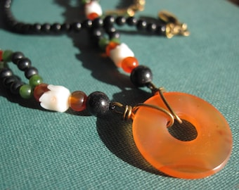 Carnelian Disk and Jade Bead Necklace