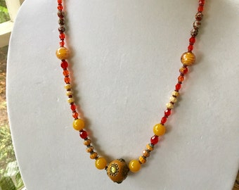 Yellow Red Bronze HARVEST GemStone Beaded Statement Necklace