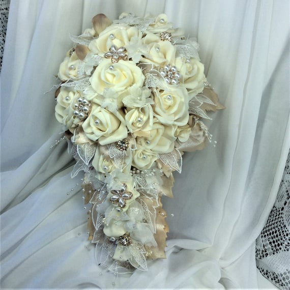 Champagne and Ivory Wedding Flower Bouquet Bridal Flowers Rose