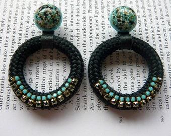 Small Hoop Gold/Black/Turquoise Resin, Rhinestone & Rope Handmade Earrings