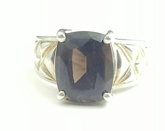 Epic Vintage Sterling Silver Statement Smoky Quartz Ring- Size 5.75