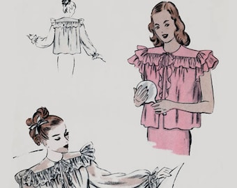 Vintage 1940s  Womens Bedjackets Sewing Pattern Vogue 5934 40s Easy Swing Era Sewing Pattern Size Small Bust 32-34