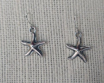 Silver Starfish Charm Earrings / Free US Shipping
