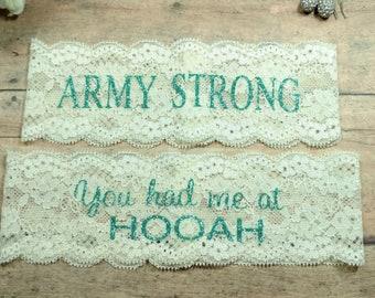 Army Garter, Army Wife, Hooah, Army Strong, Military Garter, Shower Gift, Garter, Wedding Garter, Brides Garter, Wedding Keepsake, Bride