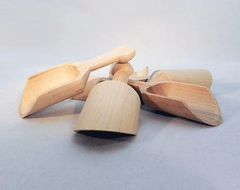 Wood Scoop, SET OF 4, Craft Supplies, Wooden Miniature Scoop, Wooden Scoop, Sorting Toy, Mini Bowl, Montessori Toys, DIY Toy, Wood Parts