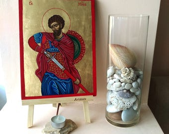 Saint Martyr Mina of Egypt icon, St. Menas The Wonder Worker, original icon on wood, 8x10 inches