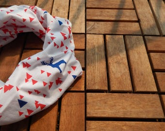 Holiday Deer Scarf/Red and Blue Reindeer Infinity Scarf