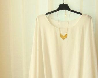 Minimalist Brass Necklace, raw Brass Chevron Necklace