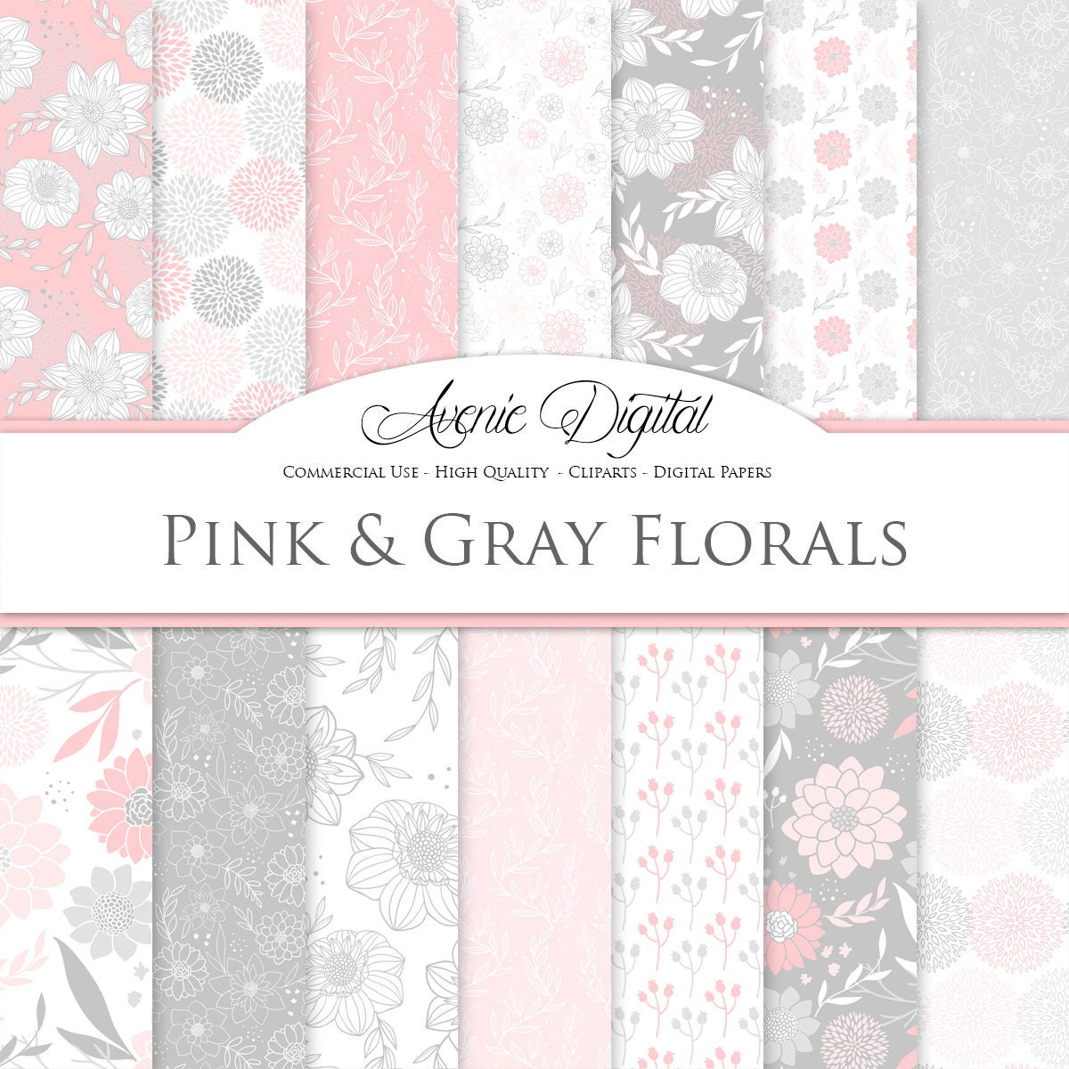 Pink And Gray Floral Digital Paper Scrapbook Backgrounds