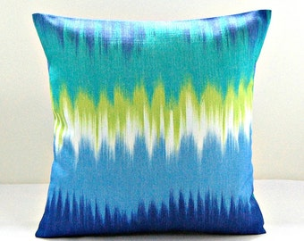 decorative pillow cover blue, turquoise, lime, jade, white abstract cushion cover 16 inch
