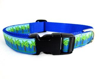 Medium Beachy Palms Dog Collar