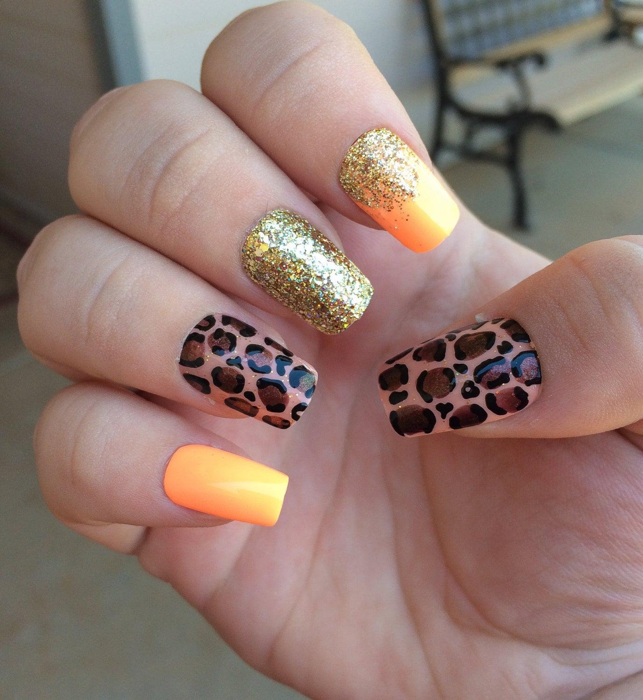 Coral Fake Nails, Gold Ombré Nails, Gold Glitter, Cheetah Print Nail ...