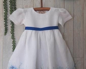 Hand painted linen dress/Country flower girl dress / Rustic flower girl dress / Flower girl linen dress / christening dress