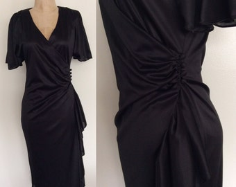 "1980's Slinky Black Wrap Dress Vintage a Party Dress Size Small 26"" Waist by Maeberry Vintage"