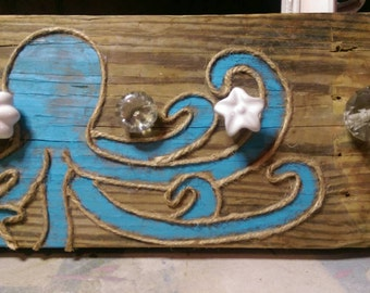 Hand painted octopus driftwood towel holder
